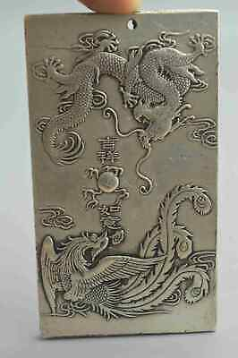 China Tibet Collectable Old Miao Silver Carve Dragon Phoenix Play Bead Pendant