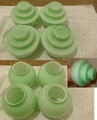 Set of four vintage Art Deco lightshades from the 1930s, pale green glass