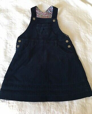 Jojo Maman Bebe Fine Cord Navy Dungaree Dress 3-4 Years EUC
