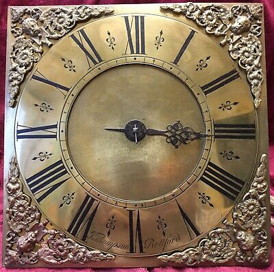 18Th Century Longcase Square 10 Inch Brass  Clock Dial With Single Hand Movement