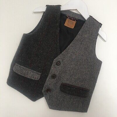 Next Baby Boys Tweed Suit Waistcoat Age 1.5-2 Years 18-24 Months