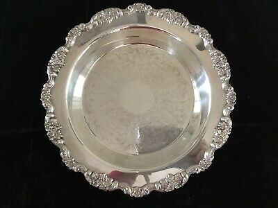 """Antique Poole Lancaster Rose Silver Plate 14"""" Footed Pie Tray W/ Pyrex Insert"""