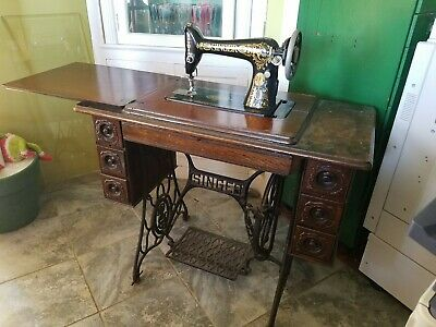 Vintage Sewing Machine Fancy Singer 7 Drawer Table Tiger Oak Cabinet EX Sew