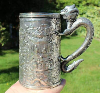 Antique Chinese Export Solid Silver Dragon Handle Mug c.1861 (R2999A)