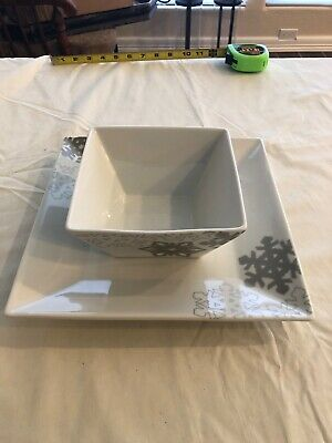 Food Network Snowflake Collection Square Bowl Porcelain 6x3 and 10x10 platter