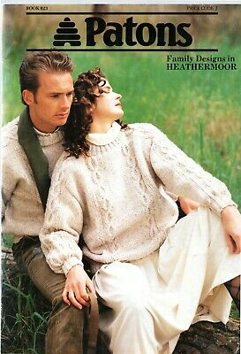 Patons Family Designs in Heathermoor knitting pattern book 823