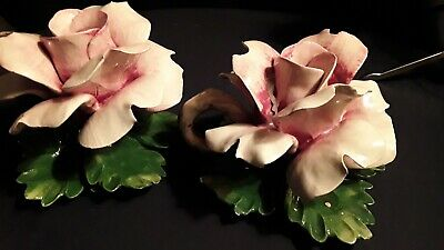 A Beautiful Pair Of Vintage Capodimonte Candle Holder Pink Rose's  $49.99 +Ship