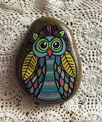 Hand Painted Owl Rock