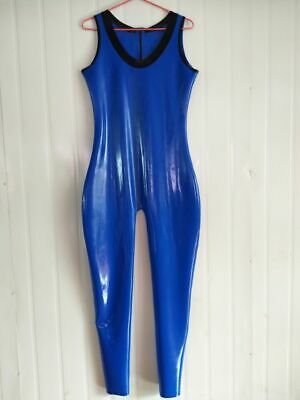 Ganzanzug Gummi Latex Rubber Dark blue uniformParty Cosplay Kostüm Masque  S-XXL