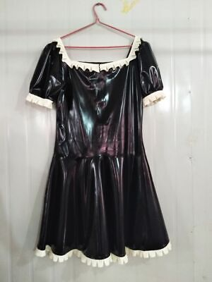 Latex Rubber Women Black Skirts Sexy Mini Above Knee Party Drees 0.4mm S-XXL