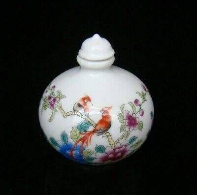 Collectible 100% Handmade Painting Porcelain Snuff Bottles Flower Bird 40