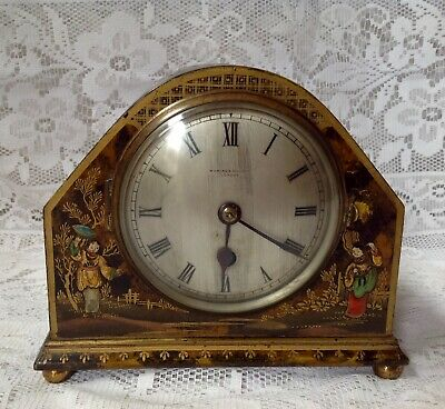 Antique Waring & Gillow London Lacquered Chinoiserie Clock, Brass Movement