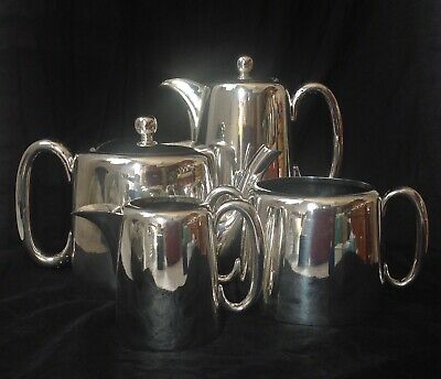 Walker & Hall Silver Plated Four Piece Hotel Style Tea Set With Good Hinged Lids