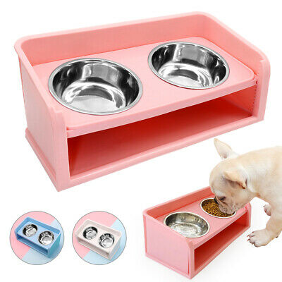 Elevated Raised Pet Dog Feeder Bowl Stainless Steel Food Water Stand Double Dish