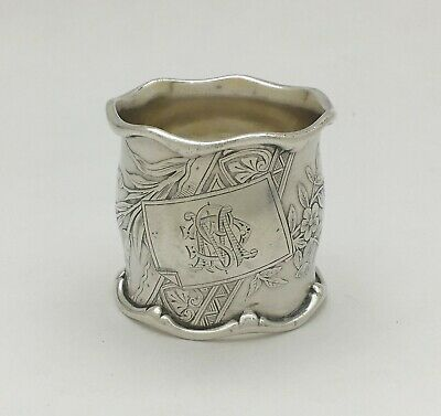 Magnificent Victorian Acid Etched Sterling Silver Napkin Ring Birds Flowers