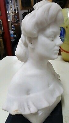Antique Art Nouveau Hand Carved Marble Bust Of A Beautiful Lady