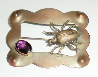 Victorian Nouveau Beetle Scarab Bug Insect Sash Pin Amethyst Glass Brass