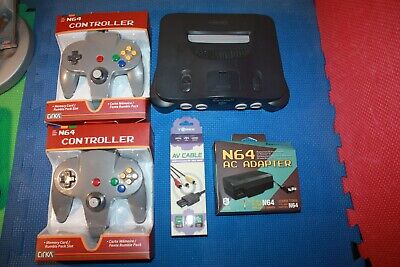 Nintendo N64 Console with Hookups and 2 New Controllers.  Tested and Cleaned.#2