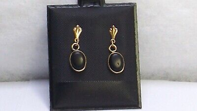 Onyx 14k gold Antique earrings Dangle with butterfly backs 14 kt 585 solid