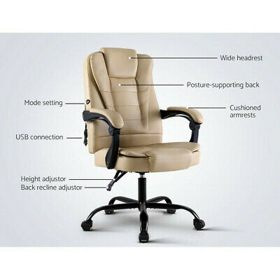 Artiss Massage Office Chair 150° Back Recliner 360° Rotatable Gaming PU Leather