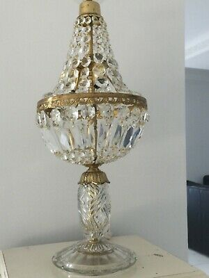 Vintage 1930-1940's French Basket Chandelier Table Lamp