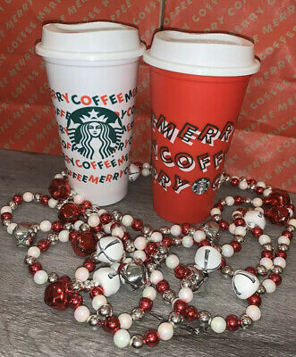 Starbucks Holiday Christmas 2019 Red and White Reusable Cup With Lid 2 Cups