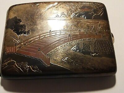 EARLY 20th CENTURY ANTIQUE JAPANESE NIELLO CIGARETTE CASE 950 STERLING SILVER