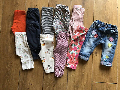 Girls Bundle Of Leggings Jeggings Trousers Jeans Age: 3-6 Months