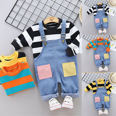 Toddler Kids Baby Boy Girl Striped T-Shirt+Suspender Pants Trousers Outfits Set