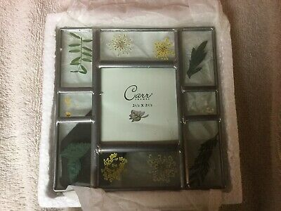 Vintage Carr Pressed Flower Picture Frame 2.5x2.5in Photo 5x5in Frame EUC Glass
