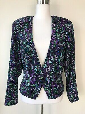 Vintage 80s Blouse Jacket Quirky 1980s Blazer Printed Colorful