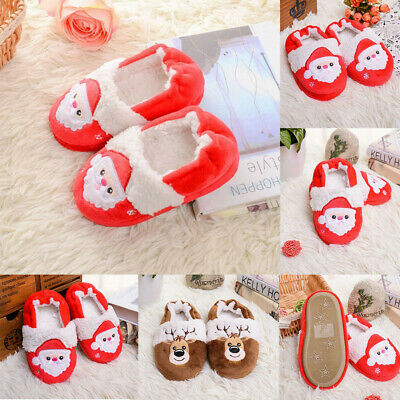 Toddler Infant Kids Baby Warm Cute Shoes Boys Girls Cartoon Christmas Slippers