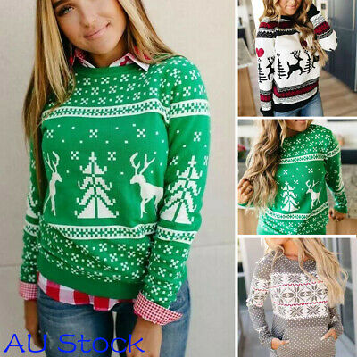 NEW Women Long Sleeve Christmas Sweater Xmas Sweatshirt Jumper Pullover Tops