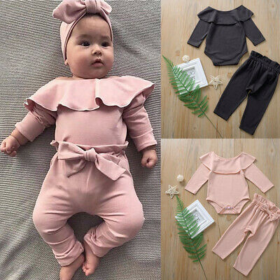 Newborn Infant Baby Girls Frill Solid Romper Bodysuit+Bow Pants Outfits sets UK