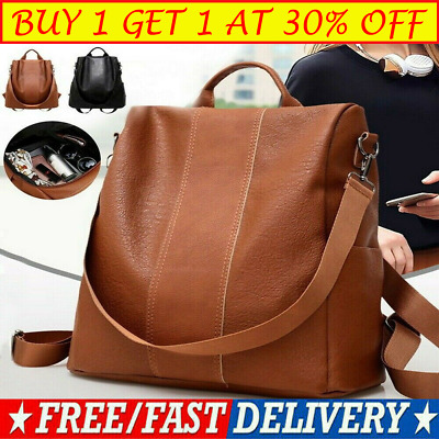 Women's Leather Anti-Theft Rucksack Backpack School Shoulder Bag Black/Brown G
