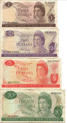NEW ZEALAND - 4x BANK NOTES - $1, $2, $5 and $20 - Circulated Condition