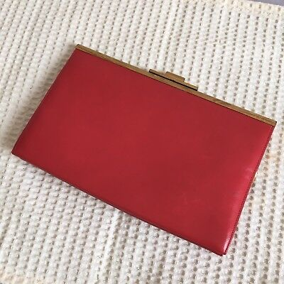 Vintage Retro Red Leather Purse Wallet Clutch