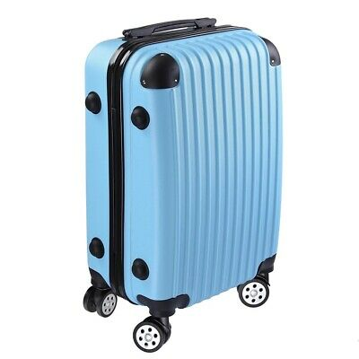 """20""""Blue Cabin Hand Luggage Suitcase ABS 4 Wheeled Travel Hard Case Trolley Bag S"""