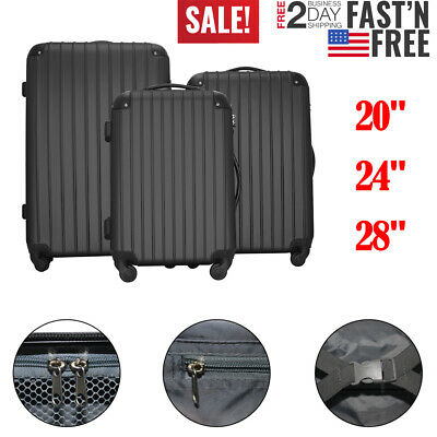 Set of 3 Luggage Set Travel Bag ABS Trolley Spinner Suitcase with TSA Lock