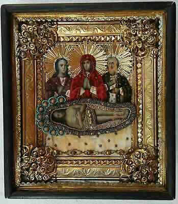 "Antique 19c Russian Orthodox Hand Painted Wood Icon "" the Shroud"""