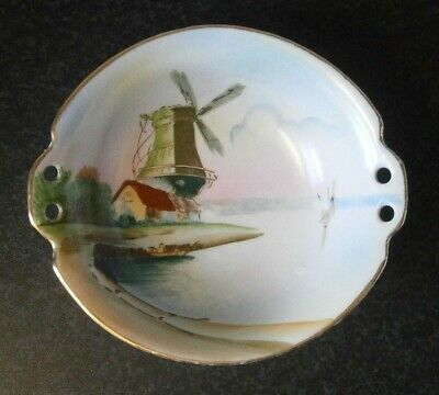 VERY OLD ANTIQUE VINTAGE JAPANESE CHINA BOWL with HAND PAINTED WINDMILL SCENE