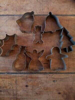 Vintage Novelty Biscuit Cookie Cutters Tin Christmas Shapes