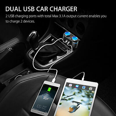 12V 2 Way Car Cigarette Lighter Socket Splitter Dual USB Charger Power Adapter