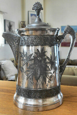 Atq 1890 SOUTHINGTON #300 Triple Slv Plated Victorian Coffee Pot - Water Pitcher