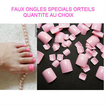 Faux Ongles Orteils Capsules Tips A Coller Nail Art Manucure Rose Man901