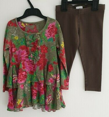 Next, Girls, Two Piece Outfit Set, Top + Leggings, Age 5, Floral, Brown