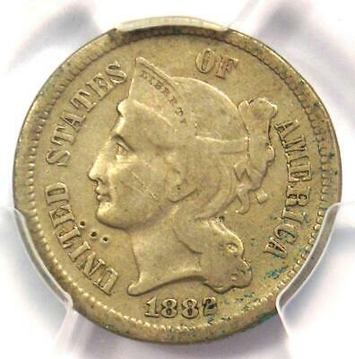 1882 Three Cent Nickel 3CN Coin - Certified PCGS VF Details - Rare Date!