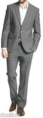 NWT $795 Hart Schaffner Marx 100% Worsted Wool Grey 2-button Suit 42L