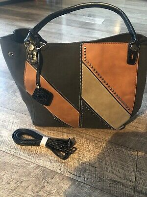 New Large Faux Leather Suede Dark Brown Tan Gold Stud Handbag