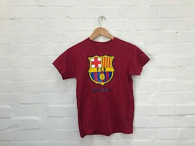 FC Barcelona Official Kid's Club Cotton T-Shirt - 10-11 Years - Claret - New